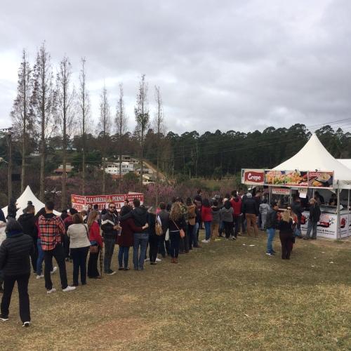 Fila nas barraquinhas de comidas no Festival das Cerejeiras Bunkyos em São Roque / SP