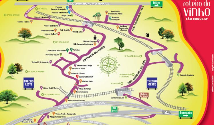 Mapa Roteiro do Vinho - São Roque / SP