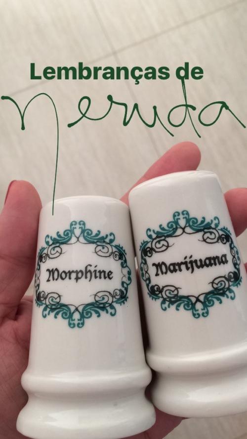 """La Chascona de Neruda - O saleiro e pimenteiro da casa trazem os rótulos """"morfina"""" e """"maconha"""""""