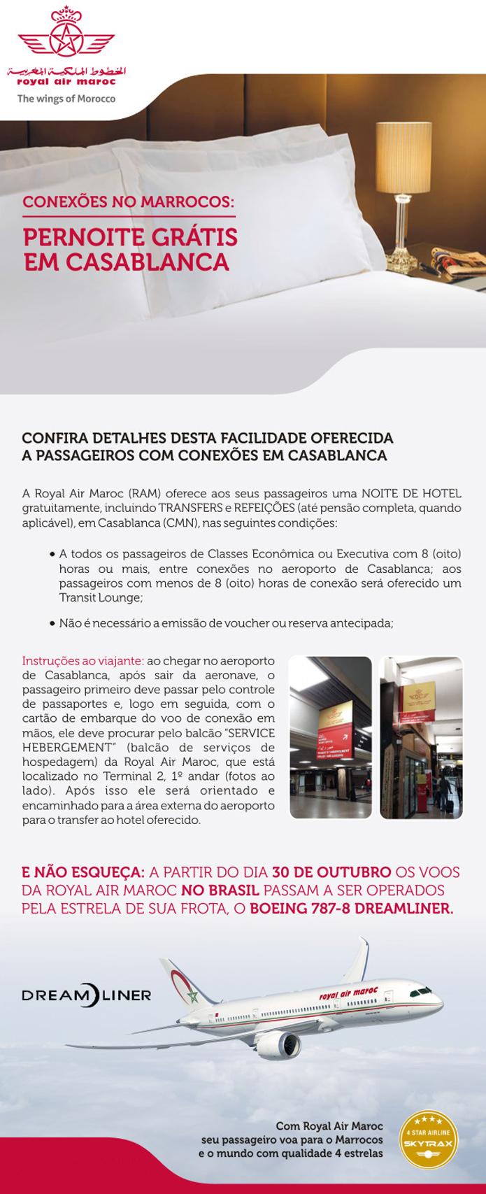 Pernoite gratis em Casablanca com a Royal Air Maroc - Verifique possíveis alterações pelo site da RAM