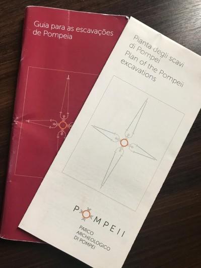 Mapa e guia de atrações de Pompeia